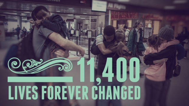 Image of children and families embracing overlaid with the text 11,400 lives forever changed, the number of children WACAP has placed since 1976 inception.