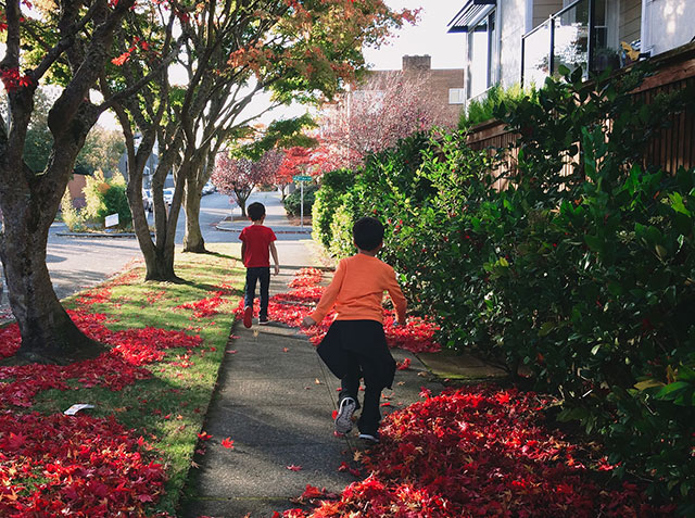 Two kids running on leaf-covered sidewalk in fall